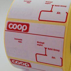 58×38 mm COOP Logóval nyomott Thermo normál Eco mérlegcímke